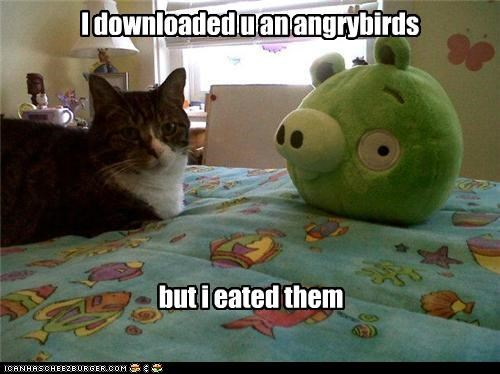 I downloaded u an angrybirds but i eated them