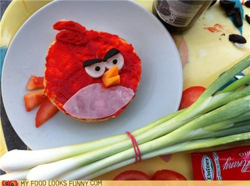 angry birds cheese ham sandwich spread tomatoes - 5269268736