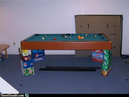 dual use,holding it up,pool table,Shaky Support Systems,soda