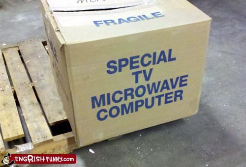 box computer electronics fragile integration microwave TV wait what