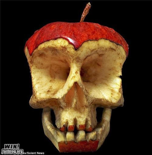 apple,art,creepy,food,fruit,sculpture,skull