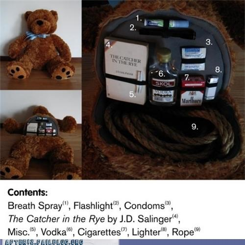 condoms,emergency,ready,rope,teddy bear,vodka