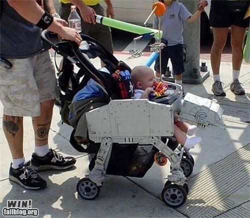 at at,baby,Hall of Fame,kid,nerdgasm,parenting,star wars,stroller