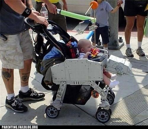 at at,baby,nerdgasm,Parenting Fail,parenting WIN,star wars,stroller,win