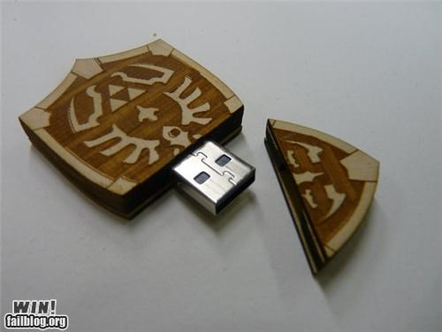 flash drive,legend of zelda,nerdgasm,shield,thumb drive,video game,zelda