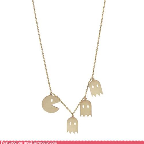 cute ghosts necklace pac man wakka wakka - 5270667008