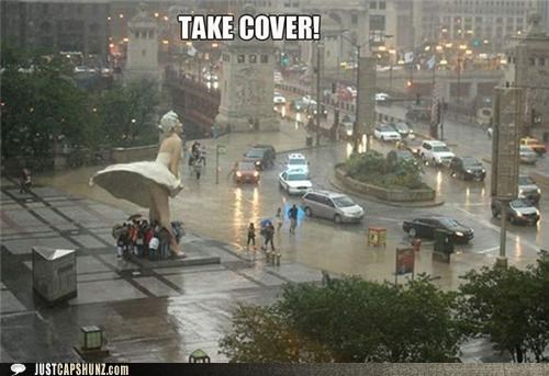 best of the week,cover,Hall of Fame,huddled,marilyn monroe,rain,statues,take cover