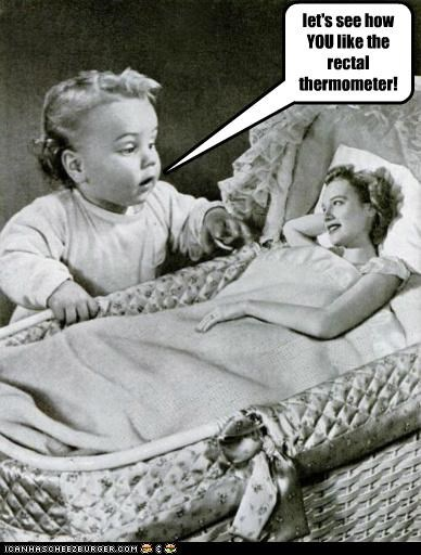 Babies backwards bassinet creepy historic lols moms rectal thermometer thermometer - 5271312384
