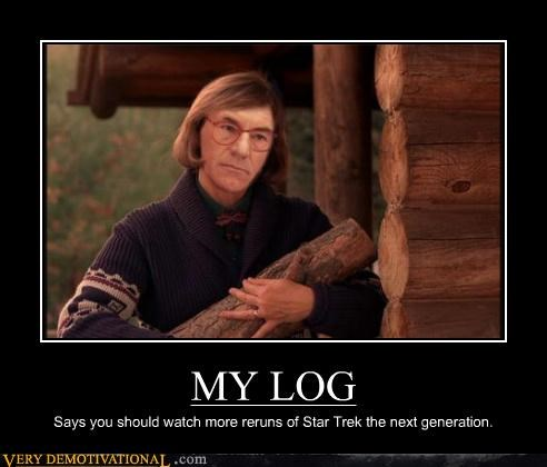 MY LOG Says you should watch more reruns of Star Trek the next generation.