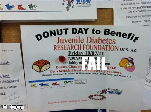 Donuts and Cinnamon Buns to Fight Diabetes Fail I work at a medical lab and this was on our employee cork board. We run blood glucose tests all day every day. We plan to fight diabetes by eating copious amounts of sugar. We're brilliant!!!