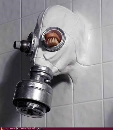 creepy gasmask shower wtf - 5272958208