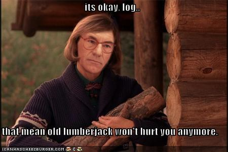 Captain Picard,face replace,logs,lumberjacks,patrick stewart,photoshopped,the log lady,Twin Peaks