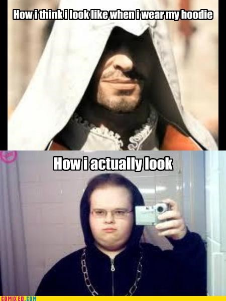 assassins creed,gangsta,hoodie,how I actually look,the internets