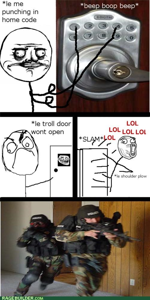door kick Rage Comics slam swat