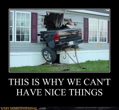 car,hilarious,home,nice things,truck,wreck