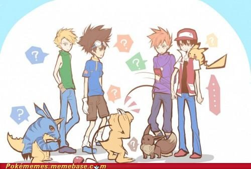 agumon,anime,crossover,digimon,pikachu,red,tai,tv-movies