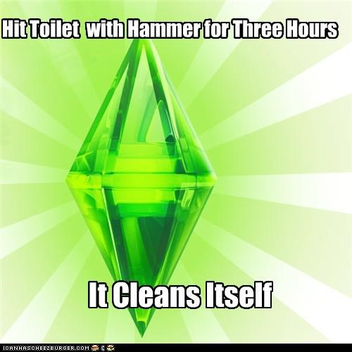 cleans,hammer,itself,japanese,The Sims,toilet,what