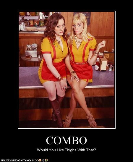beth behrs,Combos,fast food,food,Kat Dennings,roflrazzi,thighs,TV,Two Broke Girls
