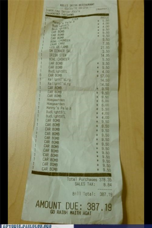 all the things check irish irish car bomb receipt - 5273773824