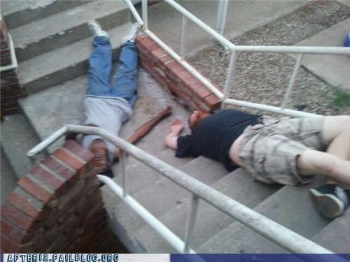 drunk,floor,ground,Nemesis,passed out,stairs,worst enemies
