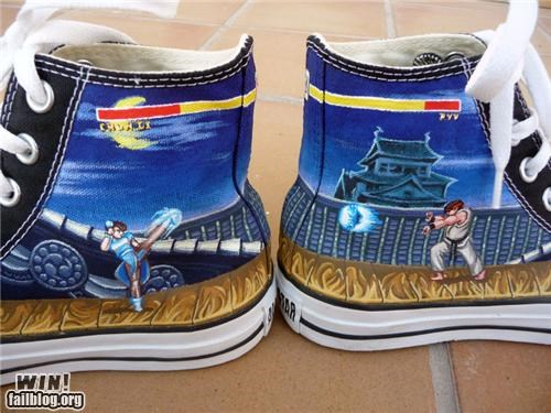 capcom,chucks,chun li,converse,modification,nerdgasm,ryu,shoes,Street fighter,video games