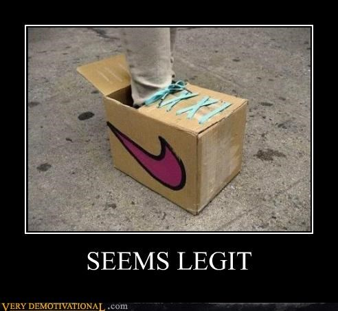 cardboard,hilarious,nike,seems legit,shoes