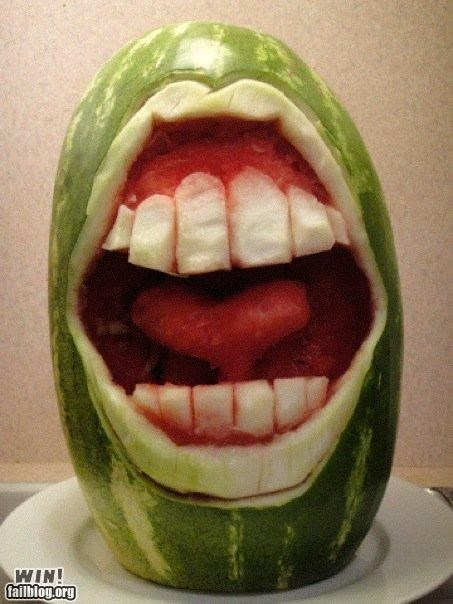 carving craft fruit mouth scream teeth watermelon
