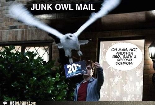 bed bath and beyond coupons Daniel Radcliffe Harry Potter junk mail owls photoshopped roflrazzi - 5273955840