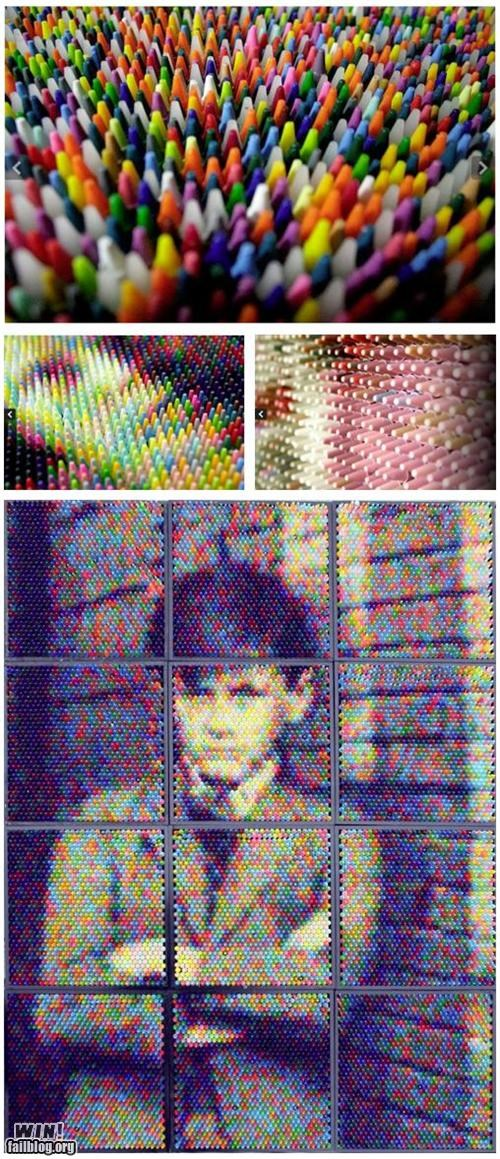 art colors crayola crayon pixel portrait pretty colors - 5274043648