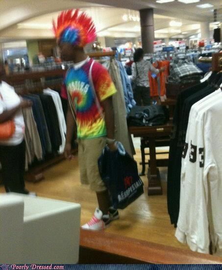 hair,mohawk,retail,shopping,tie dye
