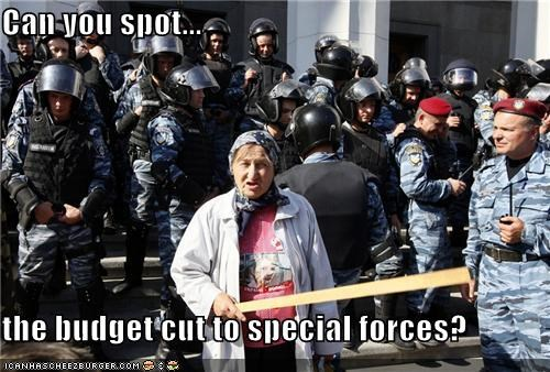 Can you spot... the budget cut to special forces?
