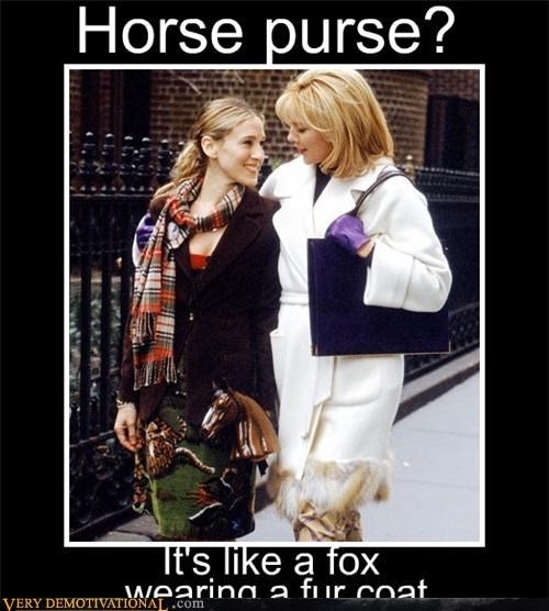 fox fur hilarious horse purse SJP