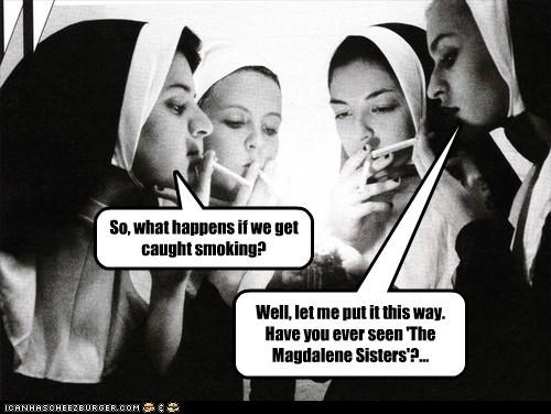 bad kids,nun,smoking,weird kid