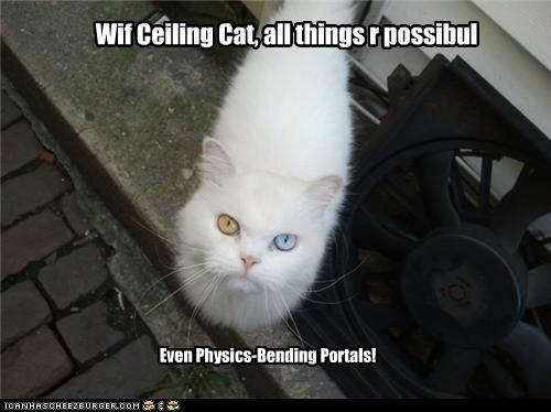 Wif Ceiling Cat, all things r possibul Even Physics-Bending Portals!