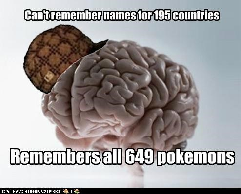 Can't remember names for 195 countries Remembers all 649 pokemons