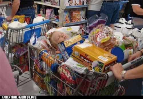 baby carriage,cart,groceries,nap,Parenting Fail,shopping,sleep,store,supermarket