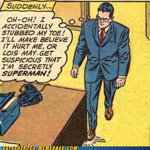Clark Kent obvious Straight off the Page stubbed toe superman