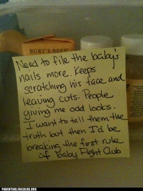 baby,classic,cuts,fight club,parenting,Parenting Fail,scratch,secret