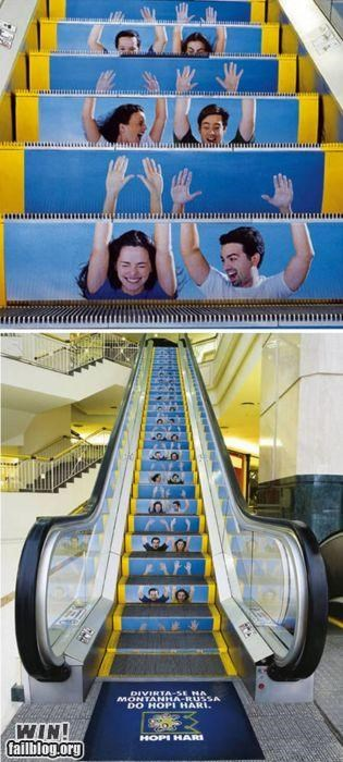advertising,amusement park,clever,escalator,ride,temporarily stairs,whee