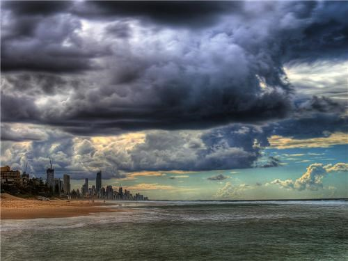 australia,city,city scape,clouds,getaways,gold coast,gray,grey,horizon,ocean,queensland,storm