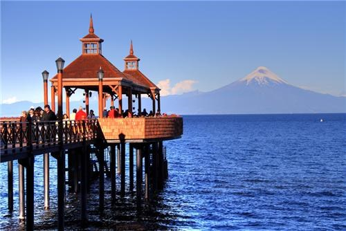 Chile,dock,getaways,horizon,lake,mountain,south america,volcano,water