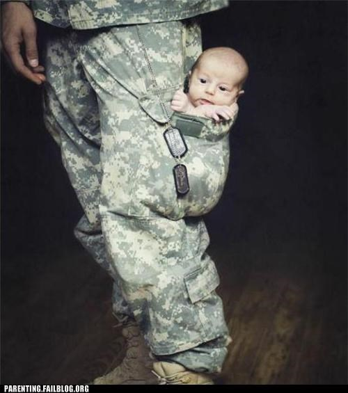 army baby call of duty classic military Parenting Fail pocket portable soldier