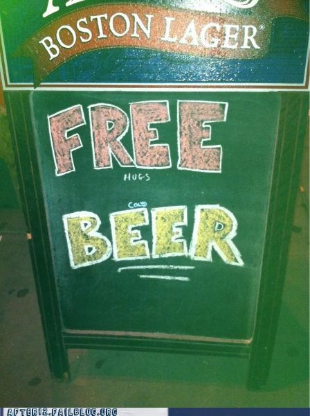 beer,fine print,free,i lied,lies,pub,sign,wait a minute