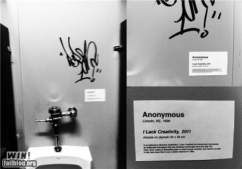 art,bathroom,clever,critique,graffiti,museum,response