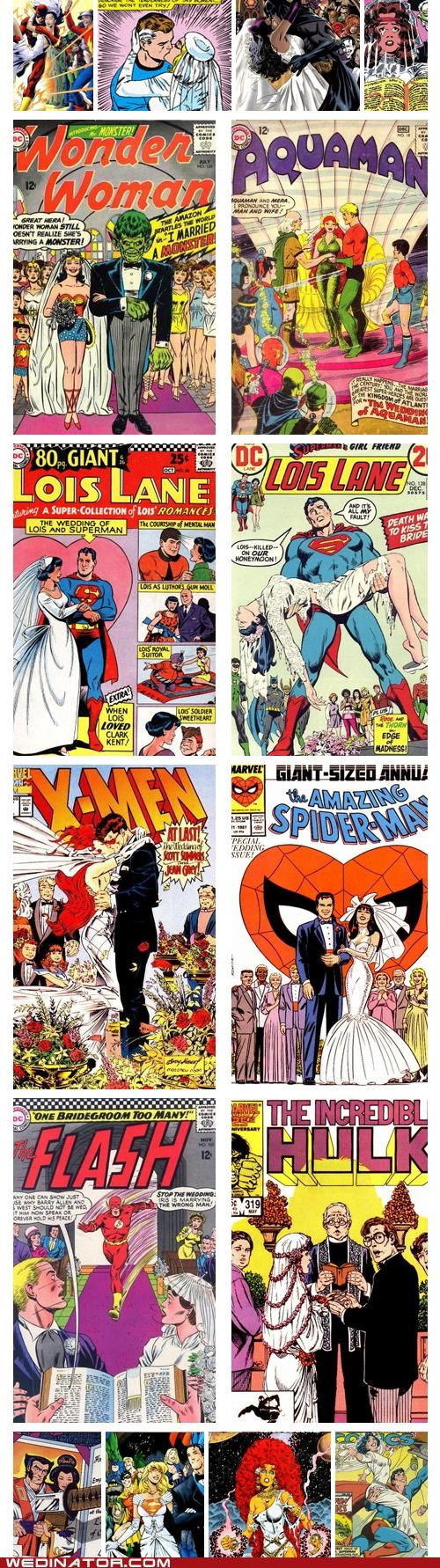 batman,comic books,comics,funny wedding photos,Hall of Fame,Spider-Man,superheroes,superman,x men