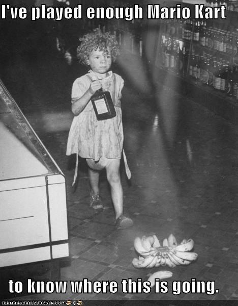 banana bananas child drunk kid historic lols imminent threat kid Mario Kart oh no video games vintage - 5278309888
