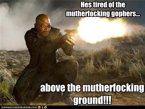 Hes tired of the mutherfocking gophers... above the mutherfocking ground!!!