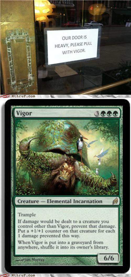 card,door,magic the gathering,nerdgasm,pull,sign,vigor