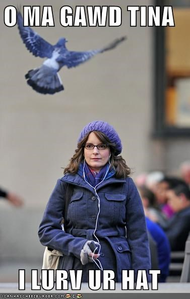 30 rock,fashion,hats,pigeons,tina fey,wat,wtf