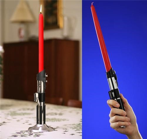 candlestick,darth vader,lightsaber,lightsaber candlestick,merch,movies,star wars,ThinkGeek,Toyz